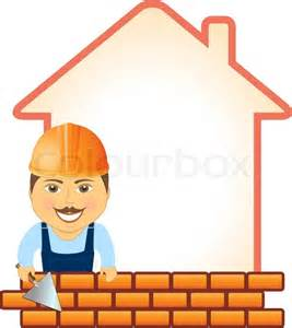 house builder smile builder with trowel bricks and house