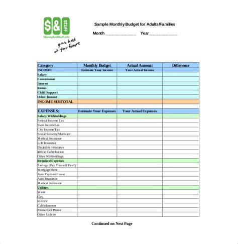 personal budget template   word excel