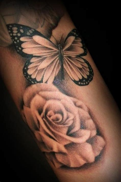 37 Inspiring Butterfly And Rose Tattoos Butterfly Flower And Tattoos