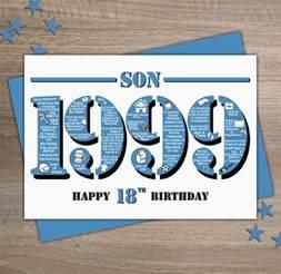 happy 18th birthday son greetings card born in 1999
