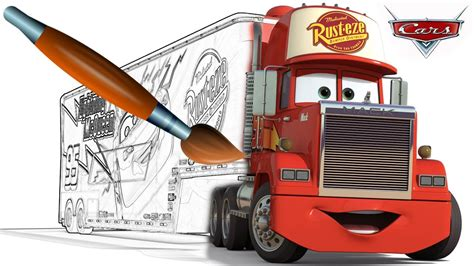cars red coloring pages cars mack coloring book pages video for kids episode