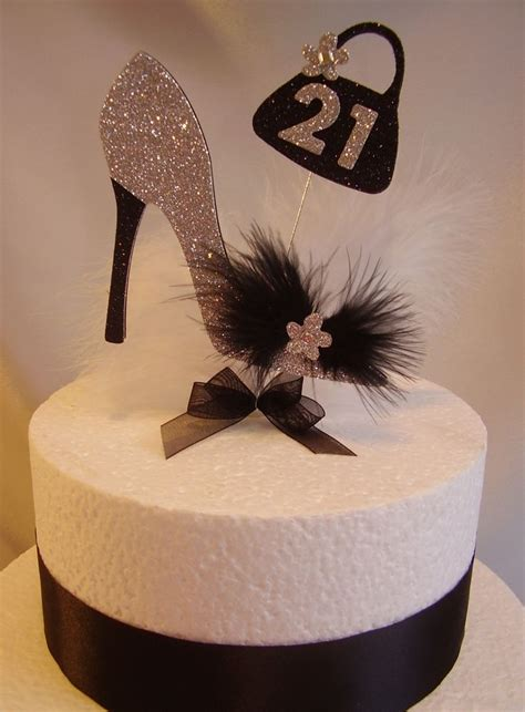 high heel shoe and bag birthday cake topper age and colour