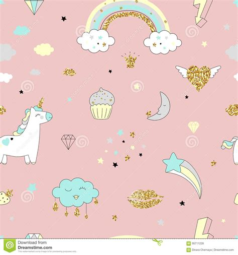 magic pattern background vector pattern with unicorn clouds and rainbow royalty