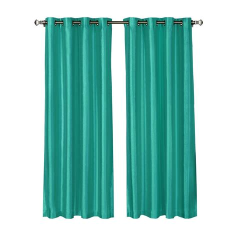 Turquoise Grommet Curtains Window Elements Faux Silk 54 In W X 84 In L Grommet Wide Curtain Panel In Turquoise