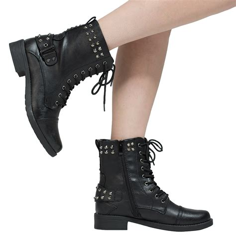 womans black boots womens ankle boots faux leather spiked studded lace up