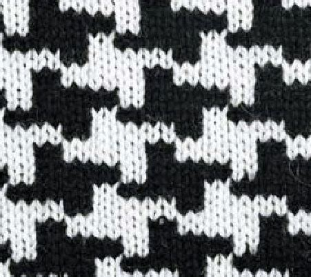 black and white knit pattern almost houndstooth knitting bee