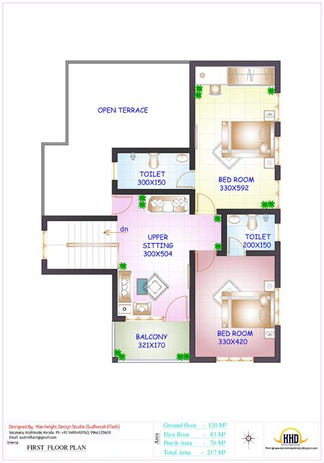 first floor plan floor plan and elevation of 2336 sq feet 4 bedroom house