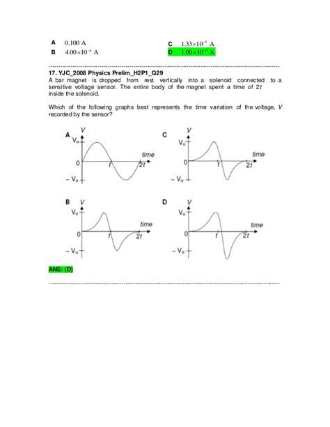 electromagnetic induction mcq j2 physics 2008 prelim electromagnetic induction questions ans for