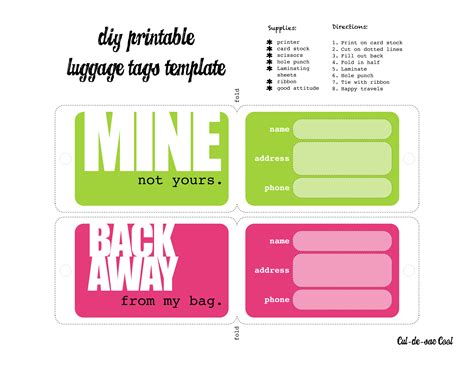 Diy Printable Luggage Tags Bag Tag Template