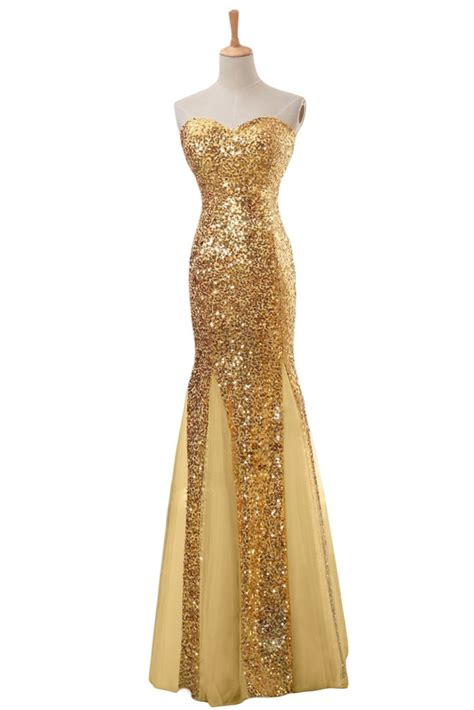 Gold Floor Length Dress by Gold Strapless Mermaid Sequin Floor Length Prom Dress With