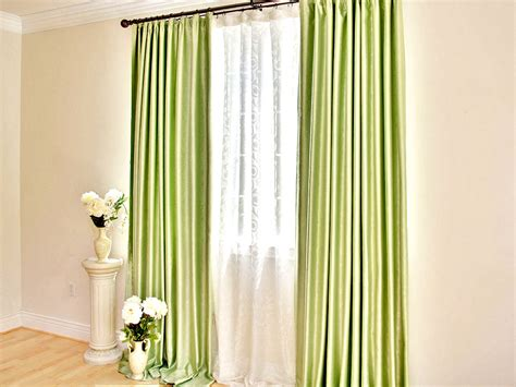 Sheer Green Curtains Classic Green Mid Century Glass Window Curtain With White Sheer Curtain In Living Room Of