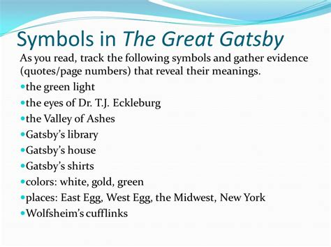 searching for symbolism in the great gatsby answers symbols in the great gatsby ppt video online download