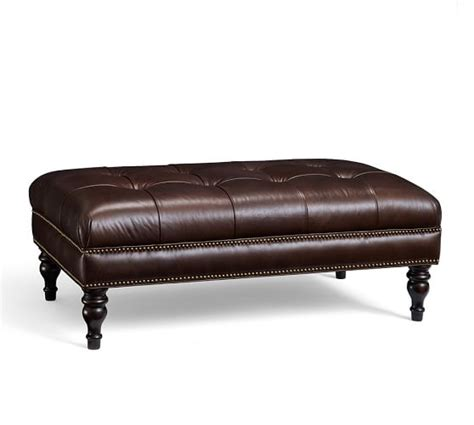 Leather Tufted Ottoman martin tufted leather ottoman pottery barn