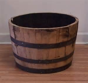half oak whiskey barrel for planter water garden coffee