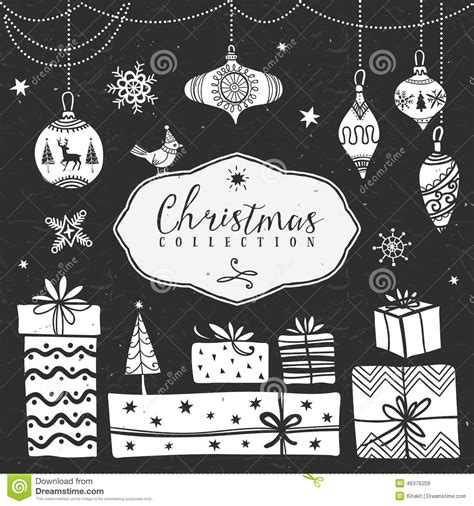 Chalk Gift Boxes And Tree Balls Christmas Collection Stock Vector Image 46376209 Tree Collection Of Design Elements Stock Vector Illustration Of Icon Botany 32428346