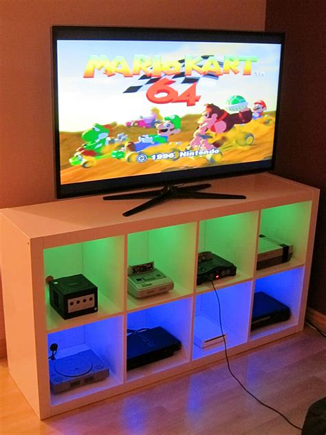 Video Game Storage Furniture I Modified An Ikea Bookshelf To Make A Console Cabinet