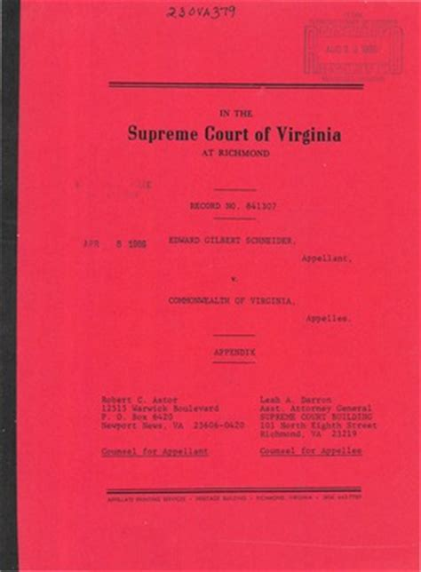 State Of Court Records Virginia Supreme Court Records Volume 230 Virginia Supreme Court Records