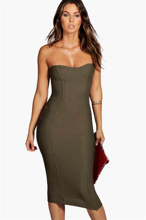 Bodycon Dress boohoo womens bandeau bandage midi bodycon dress ebay