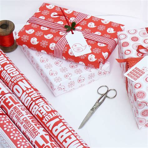 Wrapping by Red And White Assorted Christmas Wrapping Paper Set By