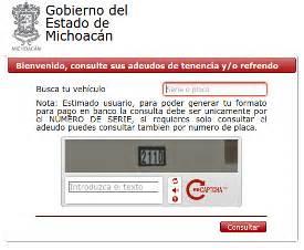 adeudos plcas michoacan tenencia en michoac 225 n consulta y pago de adeudo vehicular