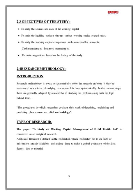 Mba Project Report On Working Capital Management Pdf by Colorful Format Of Working Capital Gallery Resume Ideas