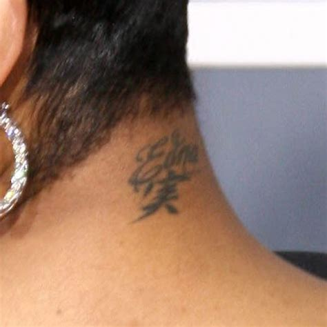 monica tattoos brown writing neck style