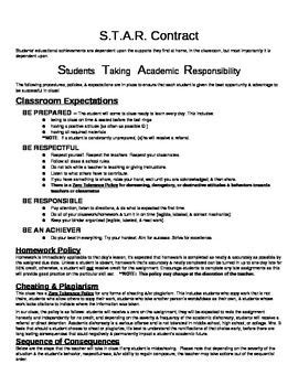 academic contract template classroom contract classroom and student on