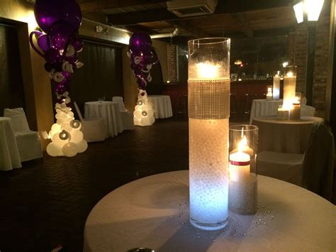 centerpiece with candle led light and gel www