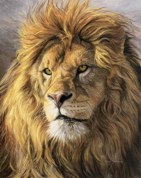 lion print portrait of a lion painting by lucie bilodeau