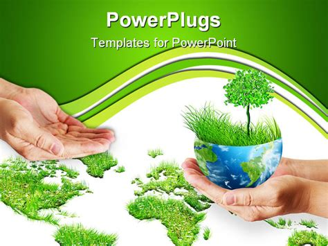 powerpoint template environment holding globe environmental energy concept from