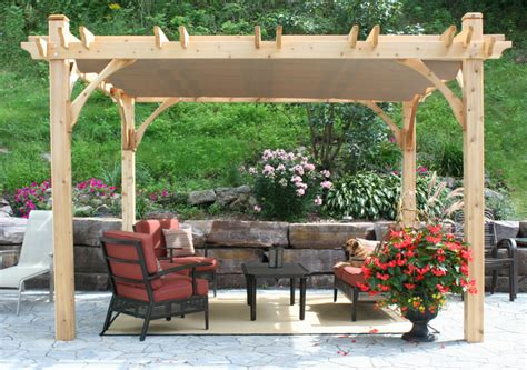 Build Patio Canopy Pergola Kit 10x12 With Retractable Canopy Traditional