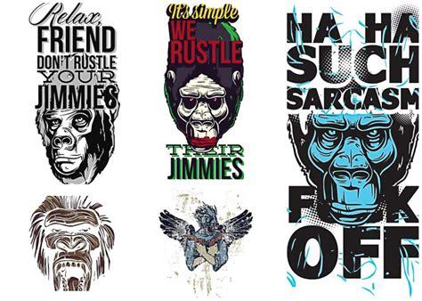design t shirt rock vector apes prints t shirt vector set free download