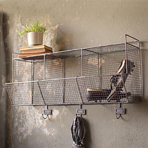 Wall Shelf With Hooks And Baskets by Kalalou Wire Wall Baskets W Hooks Cq6400