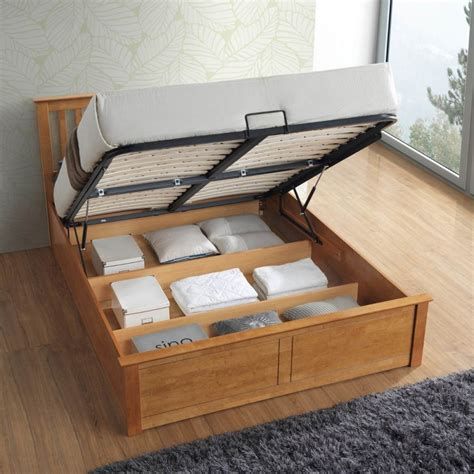 Wooden Ottoman King Size Bed Malmo Oak Wooden Ottoman Bed