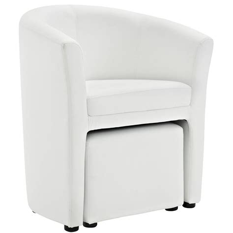white faux leather chair with ottoman modway divulge faux leather accent chair with ottoman in