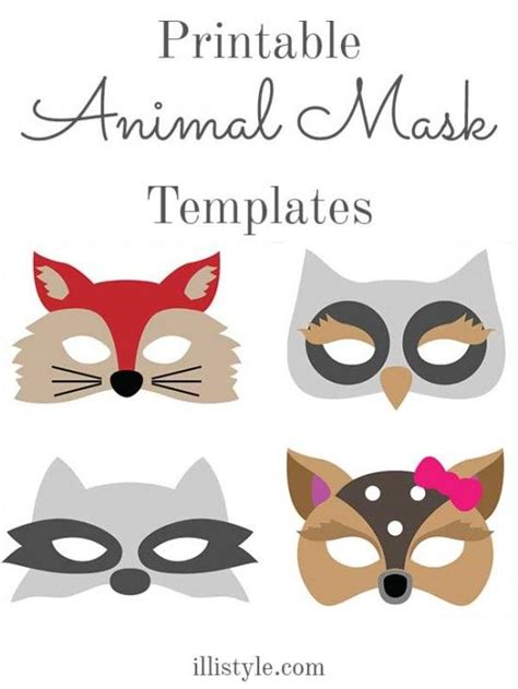 printable nocturnal animal masks felt animal mask printable templates costumes mask