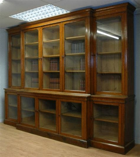 Vintage Library Bookcase 11ft Huge Victorian Oak Antique Library Bookcase With Glass Doors