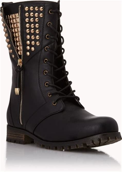combat boots for forever 21 forever 21 rocknroll combat boots in black lyst