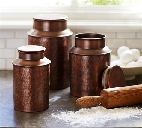copper canister contemporary kitchen canisters and