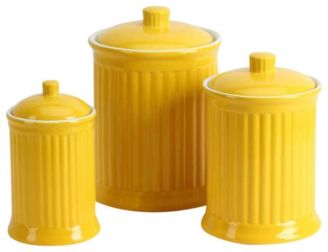 Yellow Kitchen Canisters Simsbury Canisters Citron Set Of 3 Kitchen Canisters
