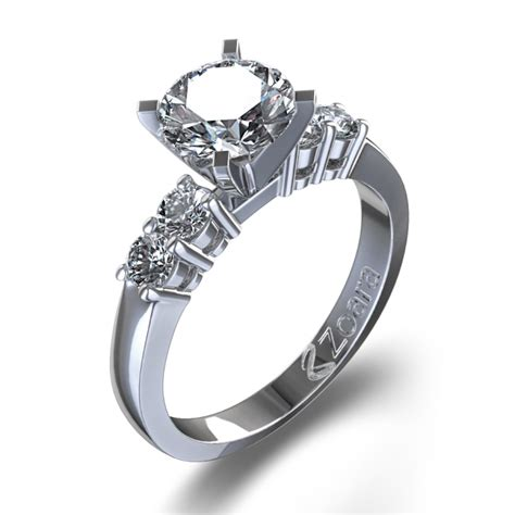 five engagement ring in 14k white gold new