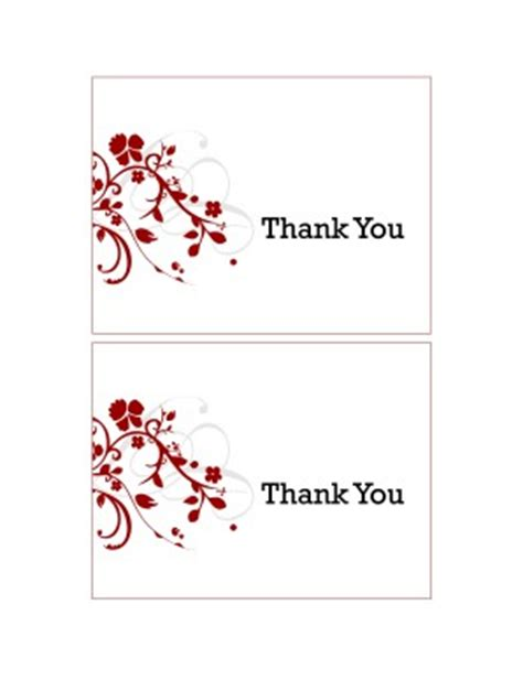 word templates for thank you cards printable red floral thank you cards new life stationery