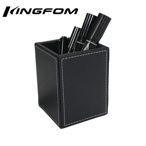 kingfom black leather wooden square pen pencil holder desk