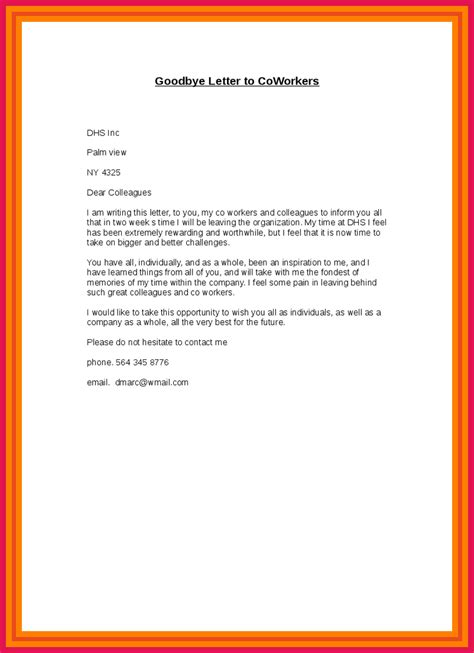 farewell letter to colleagues template goodbye letter to coworkers sop exles