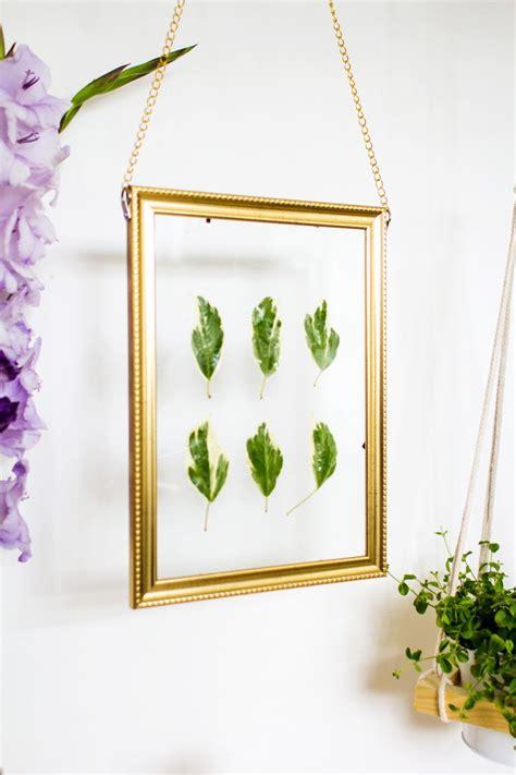 hanging art diy hanging gold frame leaf art