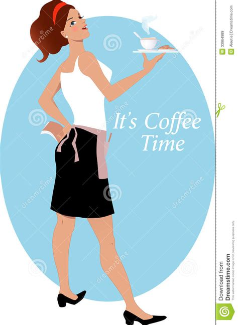 Waitress With Coffee And Biscuits Royalty Free Stock Images   Image: 33964989