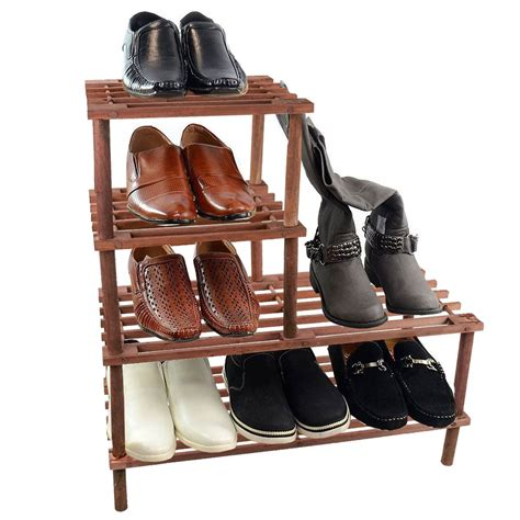 4 tier slatted shoe boot rack shelf stand wood