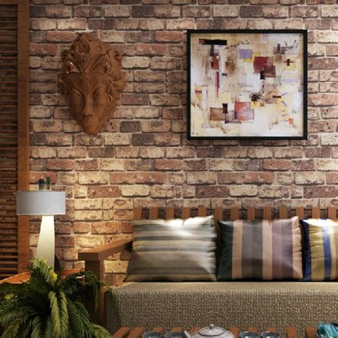 Living Room With Brick Effect Wallpaper Faux Brick Wallpaper For The Home Brick