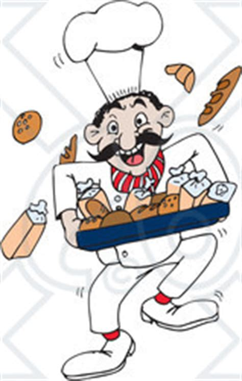 Kuas Details By Happy Bakers clipart illustration of a happy baker running with breads
