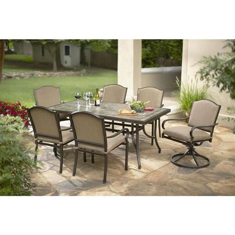 Hton Bay Castle Rock 7 Piece Patio Dining Set With Patio Dining Sets Home Depot